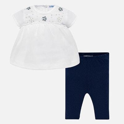 Комплект, Блуза + темно-сині легінси, Білий, Mayoral Іспанія, 19VL