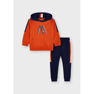 Комплект Спортивний, Пуловер з капюшоном + сині штани, утеплений, Помаранчевий, Mayoral Іспанія, 22OZ