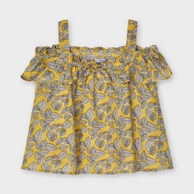 Блуза, в сірих листочках, Гірчичний, Mayoral Іспанія, 21VL