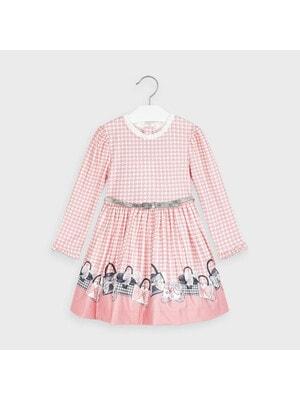 Сукня, довгий рукав + пояс (біла абстракція), Рожевий, Mayoral Іспанія, 21OZ