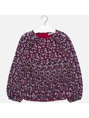 Блуза, довгий рукав (в червоних квітах), Темно-синій, Mayoral Іспанія, 20OZ