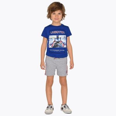 Комплект, Футболка + біла майка + сірі шорти, Синій, Mayoral Іспанія, 19VL