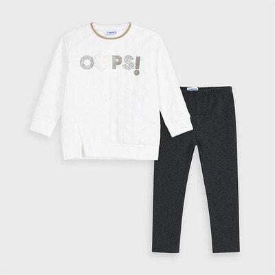 Комплект, Пуловер + темно-сірі легінси, Білий, Mayoral Іспанія, 21OZ