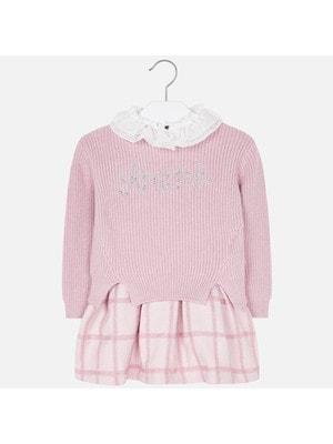 Сукня, Сарафан (низ в клітину) + светр, Рожевий, Mayoral Іспанія, 20OZ