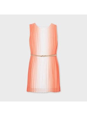 Сукня, в складочку + золотистий пояс, Персиковий, Mayoral Іспанія, 21VL