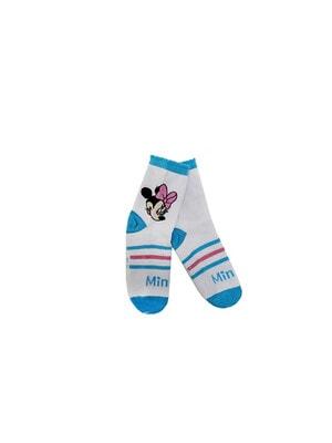 Шкарпетки, MINNIE MOUSE  блакитна окантовка (Мінні з рожевим бантиком), Білий, Disney Польща, 21OZ