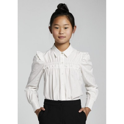 Блуза, довгий рукав, у сріблясту смугу, Білий, Mayoral Іспанія, 22OZ