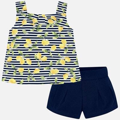 Комплект, Майка в лимонах + шорти, Темно-синій, Mayoral Іспанія, 20VL