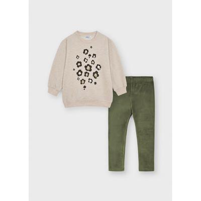 Комплект, Пуловер + зелені легінси, Бежевий, Mayoral Іспанія, 22OZ