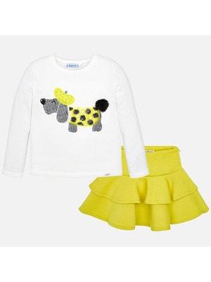 Комплект, Джемпер білий (собачка) + спідниця, Жовтий, Mayoral Іспанія, 20OZ