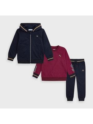 Комплект Спортивный, Кофта + бордовый пуловер + брюки, темно-синий, Mayoral Испания, 21OZ