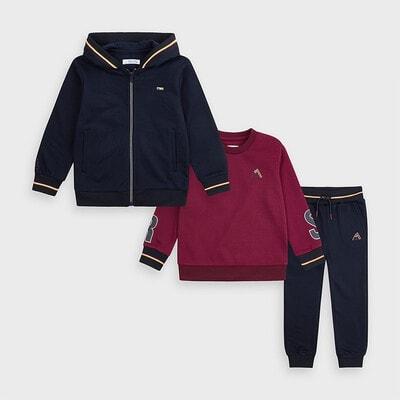 Комплект Спортивний, Кофта + бордовий  пуловер + штани, Темно-синій, Mayoral Іспанія, 21OZ