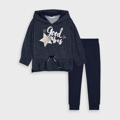 Комплект, Пуловер з блиском + штани, Темно-синій, Mayoral Іспанія, 21OZ