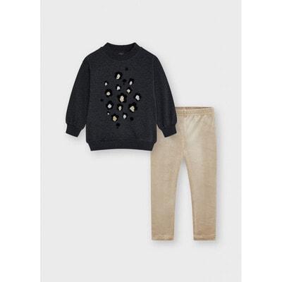 Комплект, Пуловер + бежеві легінси, Темно-сірий, Mayoral Іспанія, 22OZ