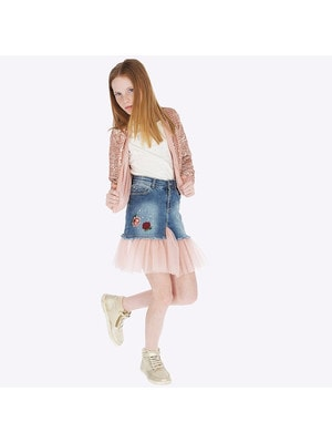 Спідниця, джинсова, низ рожевий (вишиті квіти), Синій, Mayoral Іспанія, 20OZ