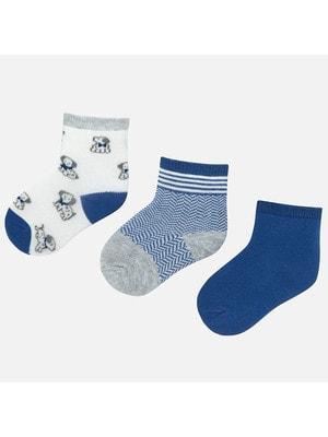 Шкарпетки, 3 пари (собачки), Синій, Mayoral Іспанія, 20OZ