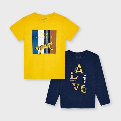 Комплект, Джемпер темно-синій, Футболка, Жовтий, Mayoral Іспанія, 21VL