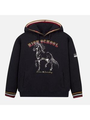 Пуловер, з капюшоном, Чорний, Mayoral Іспанія, 20OZ