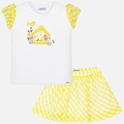 Комплект, Спідниця в білу клітину+футболка, Жовтий, Mayoral Іспанія, 19VL