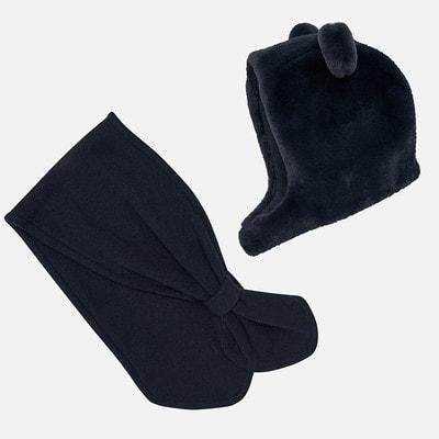 Головний убір Комплект, Шапка з вушками + шарф, Темно-синій, Mayoral Іспанія, 20OZ