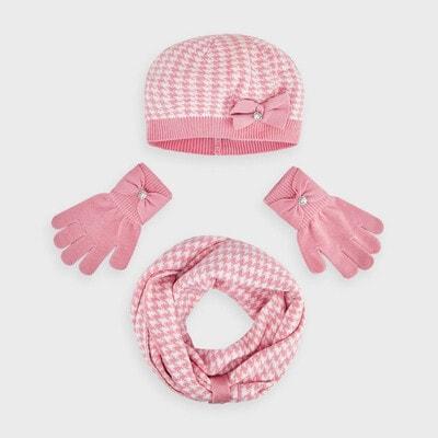 Головний убір Комплект, Шапка + шарф + рукавички (біла абстракція), Рожевий, Mayoral Іспанія, 21OZ