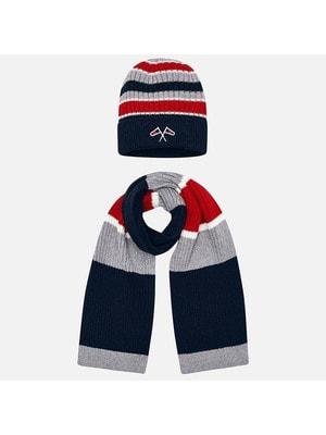 Головний убір Комплект, Шапка + шарф (червоні, сіріі смуги), Темно-синій, Mayoral Іспанія, 20OZ