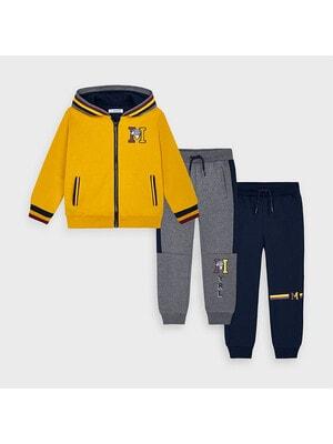 Комплект Спортивный, Кофта + штаны 2 шт. (Серые, синие), Янтарный, Mayoral Испания, 21OZ