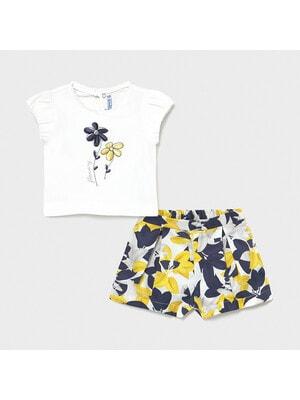 Комплект, Футболка + шорти в жовтих та синіх квітах, Білий, Mayoral Іспанія, 21VL