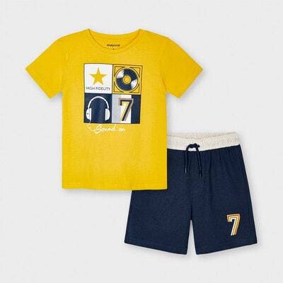 Комплект, Футболка + темно-сині шорти, Жовтий, Mayoral Іспанія, 21VL