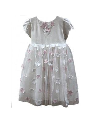Сукня, знизу білі та рожеві квіти, Білий, Daga Польща, 19VL