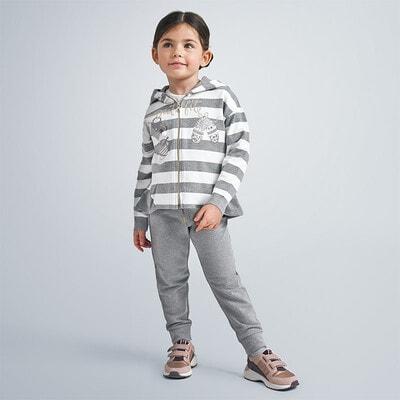Комплект, Спортивний Кофта в білу смугу + штани, Сірий, Mayoral Іспанія, 21OZ