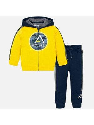 Костюм Спортивний, Кофта + штани сині, Жовтий, Mayoral Іспанія, 20OZ