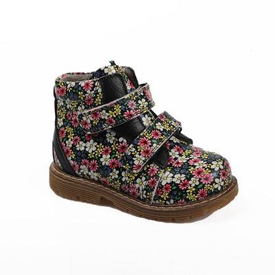 Чобітки, в квітах, Чорний, My Mini Orhopedic Туреччина, 21OZ