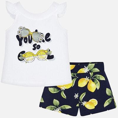 Комплект, Майка  біла + шорти в лимонах, Темно-синій, Mayoral Іспанія, 20VL