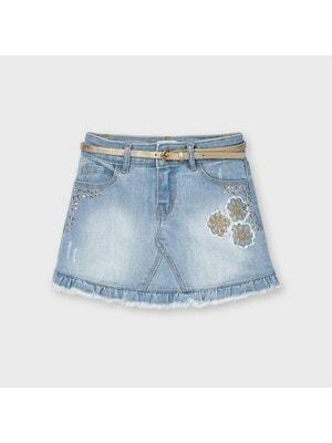 Спідниця, джинсова + золотистий пояс, Блакитний, Mayoral Іспанія, 21VL