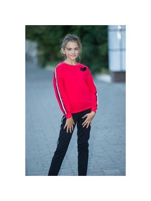 Комплект, Пуловер + штани (смуга з червоних, білих, синіх паєток), Червоний, ТМ Colabear, 20OZ