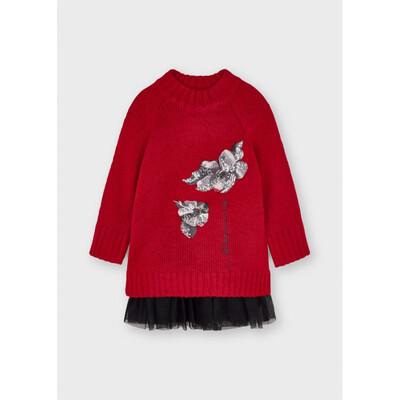 Комплект, Сукня чорна + светр, Червоний, Mayoral Іспанія, 22OZ