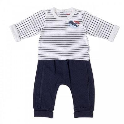 Комплект, Джемпер білий в синю смугу + штани, Темно-синій, Babybol Іспанія, 19VL