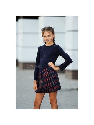 Шкільна форма, Сукня, довгий рукав, низ в червону клітинку, Темно-синій, REMIX Польща, 19Ошкола