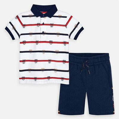 Комплект, Футболка POLO  біла + шорти, Темно-синій, Mayoral Іспанія, 20VL