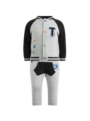 Комплект Спортивний, Кофта (чорні рукава) + штани, Сірий, TucTuc Іспанія, 20OZ