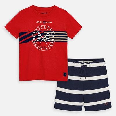 Комплект, Футболка + шорти сині в смугу, Червоний, Mayoral Іспанія, 20VL
