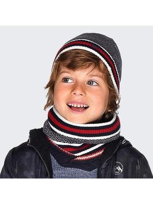 Головний убір Комплект, Шапка + шарф  (червона смуга), Сірий, Mayoral Іспанія, 20OZ