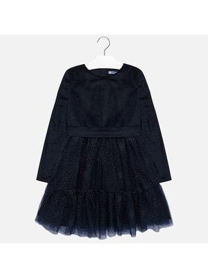 Сукня, довгий рукав (низ в блискучу цяточку), Темно-синій, Mayoral Іспанія, 20OZ