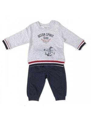 Комплект, Пуловер сірий (Ocean Spirit) + штани, Темно-синій, Babybol Іспанія, 19VL