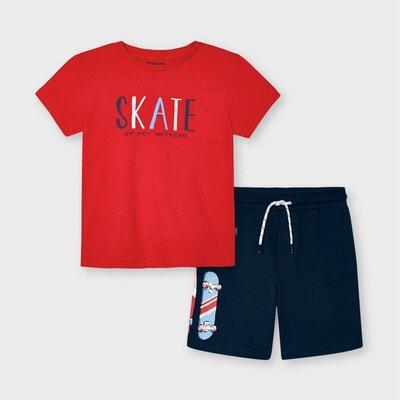Комплект, Футболка червона + шорти, Темно-синій, Mayoral Іспанія, 21VL