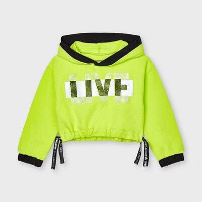 Пуловер, з капюшоном, неоновий, Зелений, Mayoral Іспанія, 21VL