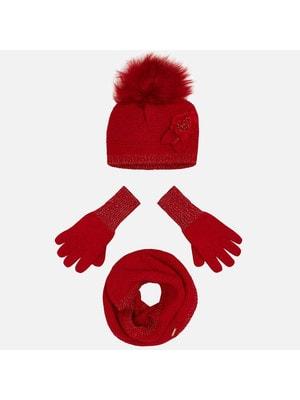 Головний убір Комплект, Шапка + шарф + перчатки, Червоний, Mayoral Іспанія, 20OZ