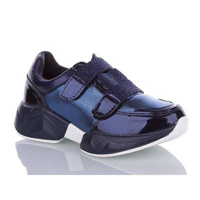 Кросівки, з блиском, на липучках камінці, Темно-синій, Башили Туреччина, 20VL