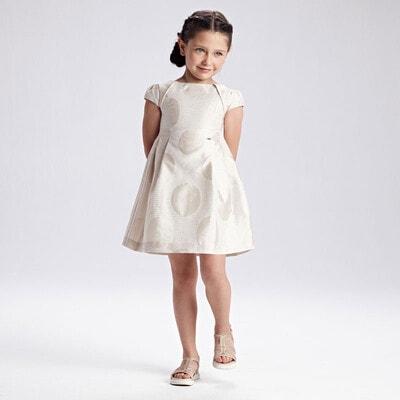 Платье, в блестках, Бежевый, Mayoral Испания, 21VL